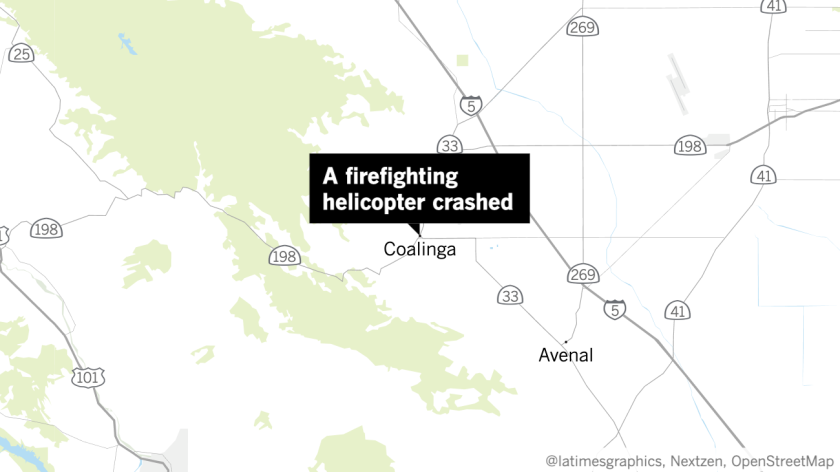 A firefighting helicopter crashed about nine miles south of Coalinga in Fresno County on Wednesday