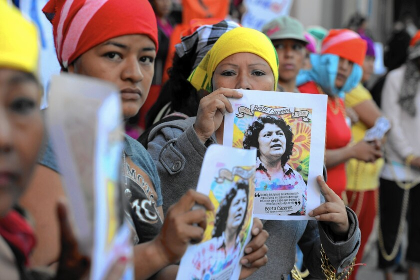 Lenca indigenous women protest the slaying of Honduran environmentalist Bertha Caceres in Tegucigalpa on April 5, 2016.