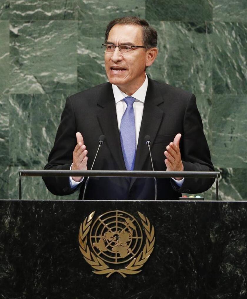 El presidente peruano Martín Vizcarra pronuncia su discurso durante la sesión de apertura del debate de alto nivel de la Asamblea General de Naciones Unidas, en la sede de la ONU en Nueva York, Estados Unidos, el 25 de septiembre del 2018. EFE