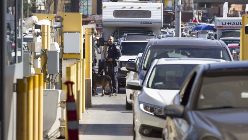 Vehicles waited to cross into the United States at the San Ysidro Port of Entry.