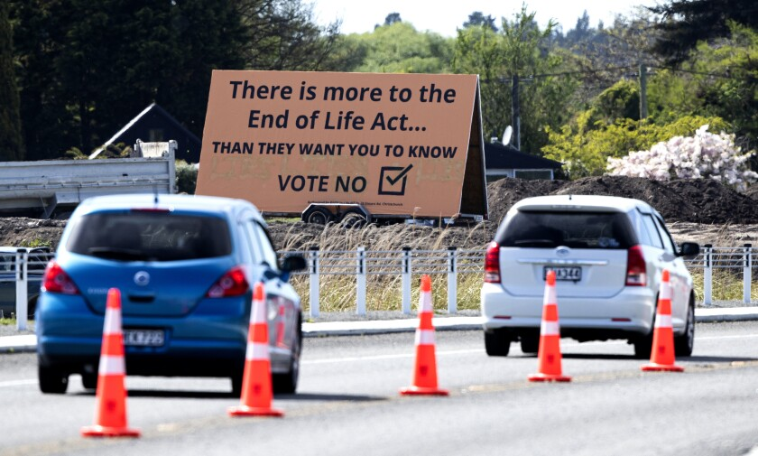 Billboard in Christchurch, New Zealand, urging people to vote against legalizing euthanasia