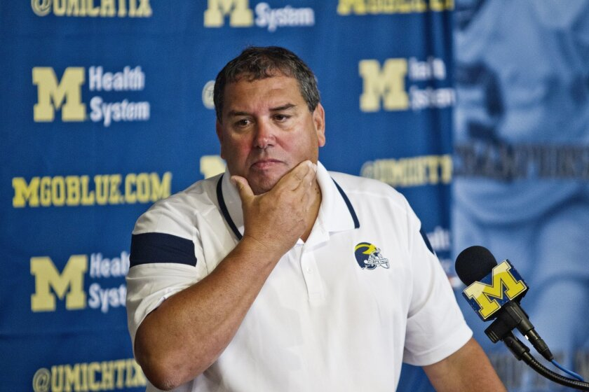 FILE - In this Aug. 10, 2014, file photo, Michigan head coach Brady Hoke reacts as he answers questions at a news conference at the NCAA college football team's preseason media day in Ann Arbor, Mich. Early Tuesday, Sept. 30, 2014, roughly 12 hours after embattled Michigan coach Hoke said he'd been given no indication that quarterback Shane Morris had been diagnosed with a concussion, athletic director Dave Brandon revealed in a post-midnight statement that the sophomore did appear to have sustained one. (AP Photo/Tony Ding, File)