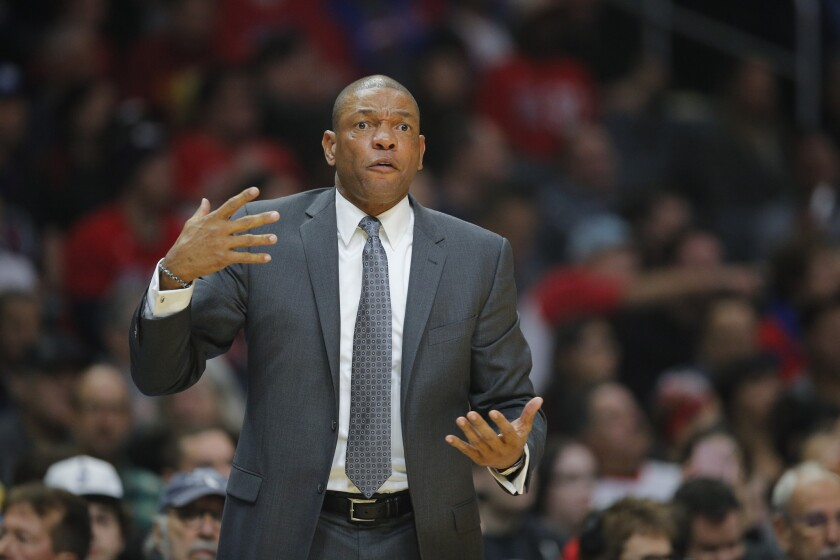 Doc Rivers directs the Clippers during a game against Oklahoma City on Monday.