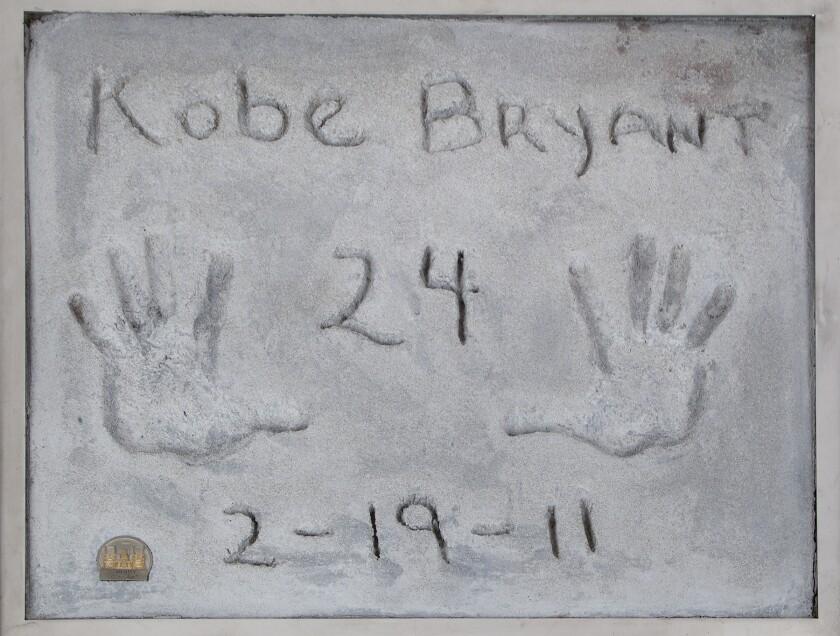 Kobe Bryant's handprints Grauman's Chinese Theater
