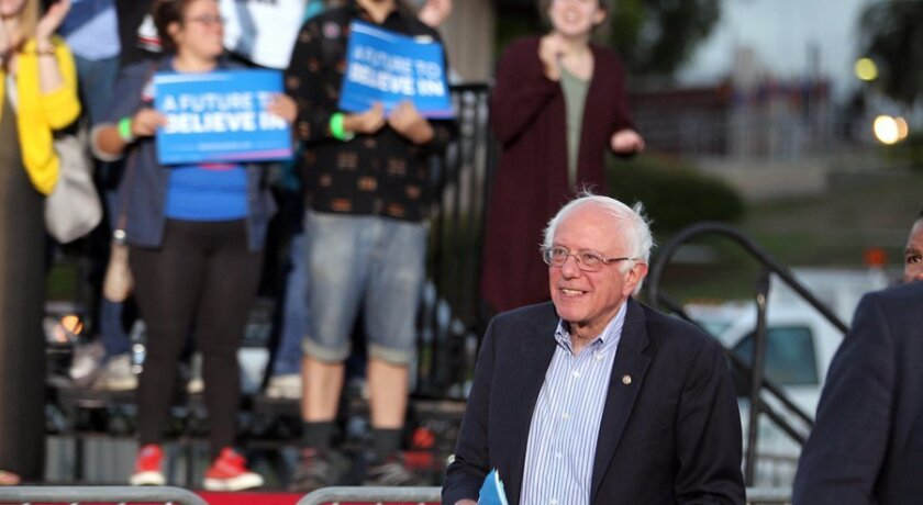 Presidential candidate Bernie Sanders spoke to thousands at Kimball Park in National City Saturday evening.