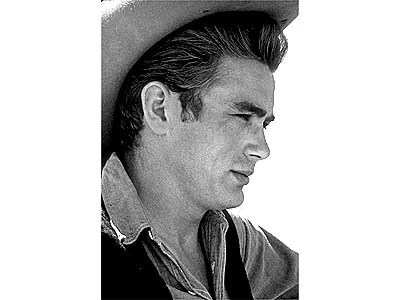 "James Dean on location for ""Giant,"" in Marfa, Texas in 1955."