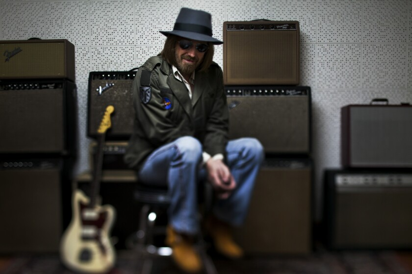 Rock musician Tom Petty, shown in the studio of his L.A.-area home in 2014, will curate the new Tom Petty Radio channel set to premiere Nov. 20 on SiriusXM satellite radio. (Jay L. Clendenin / Los Angeles Times)