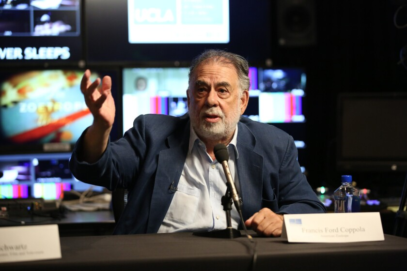 Francis Ford Coppola speaks at a news conference presenting his experimental Live Cinema workshop at the UCLA School of Theater, Film and Television.