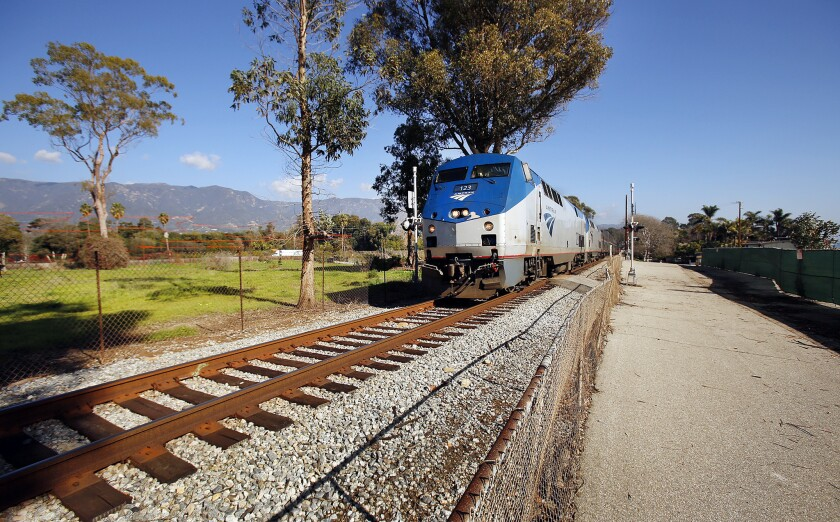 Train on tracks in Southern California