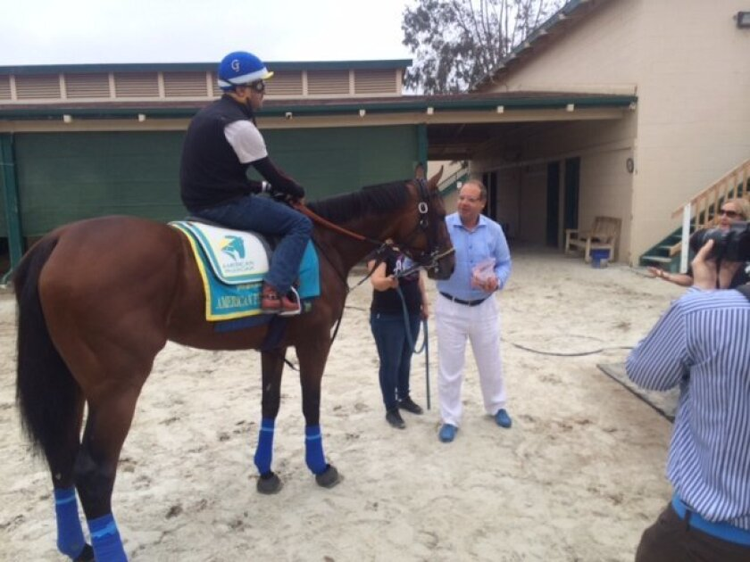 American Pharoah next will race in the $1 million Haskell Invitational at Monmouth Park in New Jersey, the home state of Ahmed Zayat and his faimly. They were at Del Mar Thursday to see their Triple Crown winner work six furlongs.