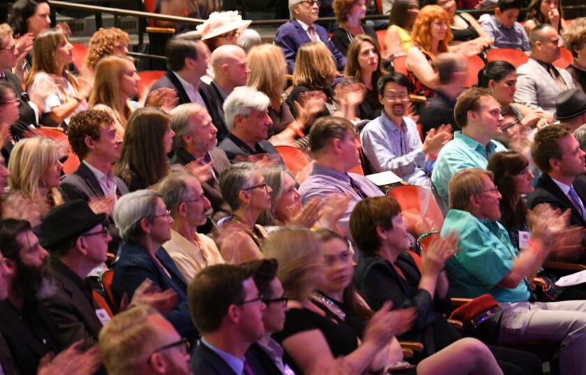 A crowd applauds at the Los Angeles Times Book Prizes at USC's Bovard Auditorium in 2017.