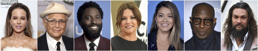 """In this combination photo of celebrities with birthdays from July 26 - Aug. 6, Kate Beckinsale, from left, attends the special screening of """"Farming"""" on Oct. 22, 2019, in New York, Norman Lear arrives at the BAFTA Los Angeles Britannia Awards on Oct. 25, 2019, in Beverly Hills, Calif., John David Washington attends the Santa Barbara International Film Festival Virtuosos Tribute on Feb. 5, 2019, in Santa Barbara, Calif., Martina McBride arrives at the 53rd annual CMA Awards on Nov. 13, 2019, in Nashville, Tenn., Gina Rodriguez attends the Disney+ press line at the D23 Expo on Aug. 23, 2019, in Anaheim, Calif., Wesley Snipes attends The Hollywood Foreign Press Association and The Hollywood Reporter's Toronto International Film Festival party on Sept. 7, 2019, and Jason Momoa arrives at the Oscars on Sunday, Feb. 24, 2019, in Los Angeles. (AP Photo)"""