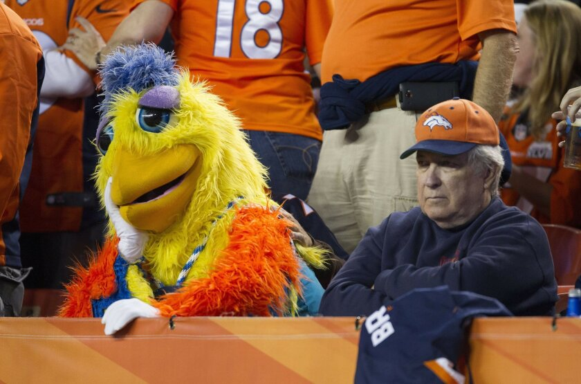 The San Diego Chicken, representing at Sports Authority Field in Denver, appears to be in a fowl funk during a Chargers loss to the Broncos.