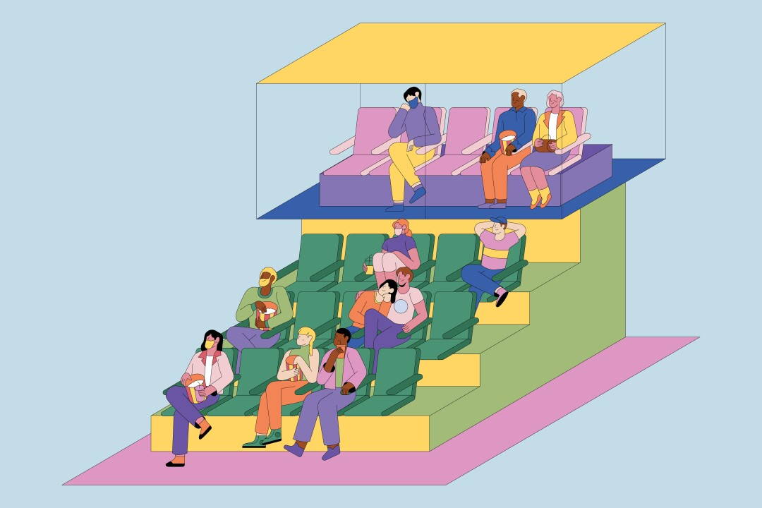 "An illustration shows a movie theater with a separate  ""cry room"" area"