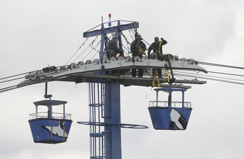 Crews work to lower at least one of the stalled gondola cars from the westernmost tower of SeaWorld's stalled Bayside Skyride in February.