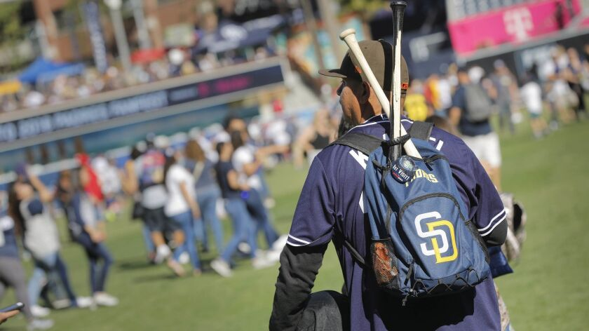 SAN DIEGO, CA 1/13/2018: Fans were able to walk on the field during the 2018 Padres FanFest at Petc
