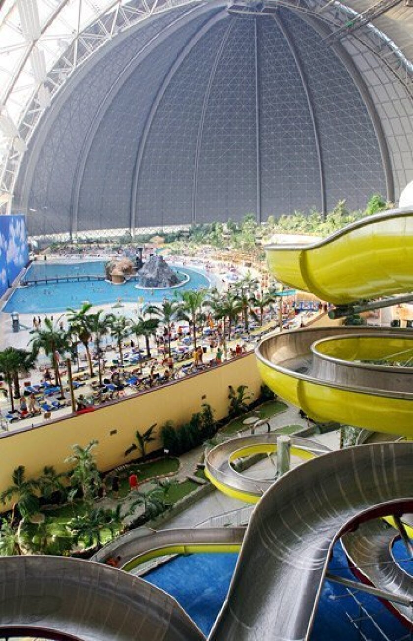The Statue of Liberty could stand upright inside Tropical Islands, the world's largest indoor waterpark between Berlin and Dresden, Germany. (Scott Vogel / Washington Post)