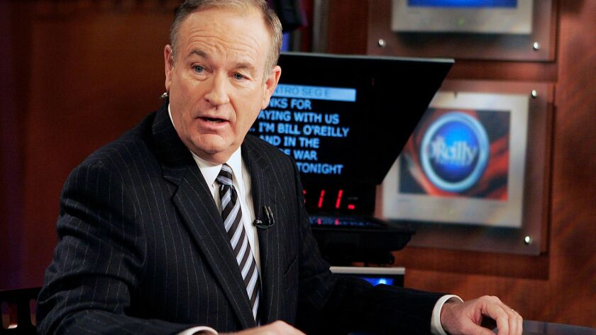 "Fox News commentator Bill O'Reilly on the set of his Fox News show, ""The O'Reilly Factor,"" in 2007."