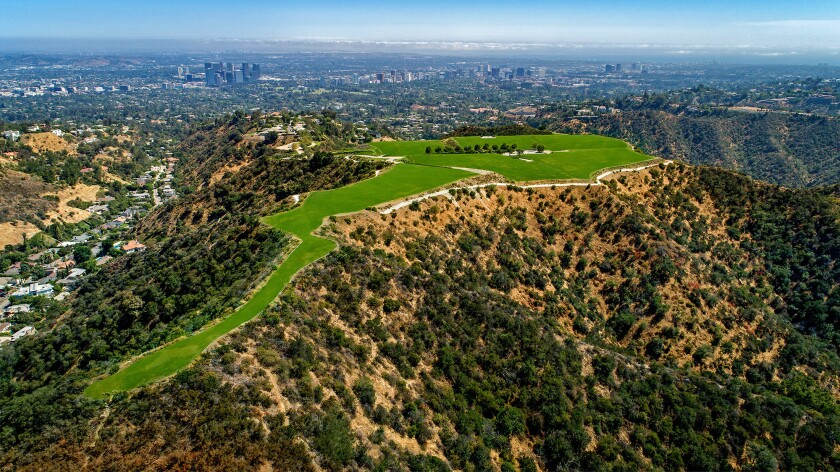 Aerial view of the Mountain in Beverly Hills