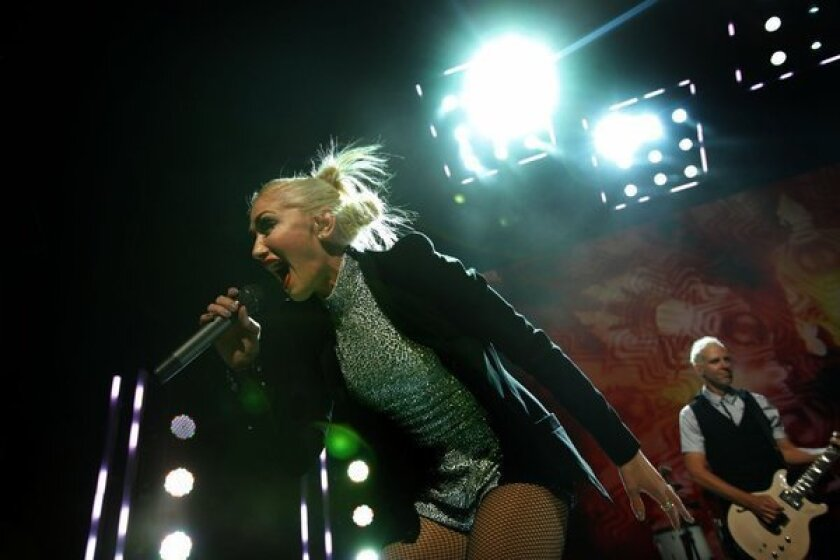 Gwen Stefani and her No Doubt bandmates perform at the Gibson Amphitheatre in Universal City on Nov. 24, 2012.