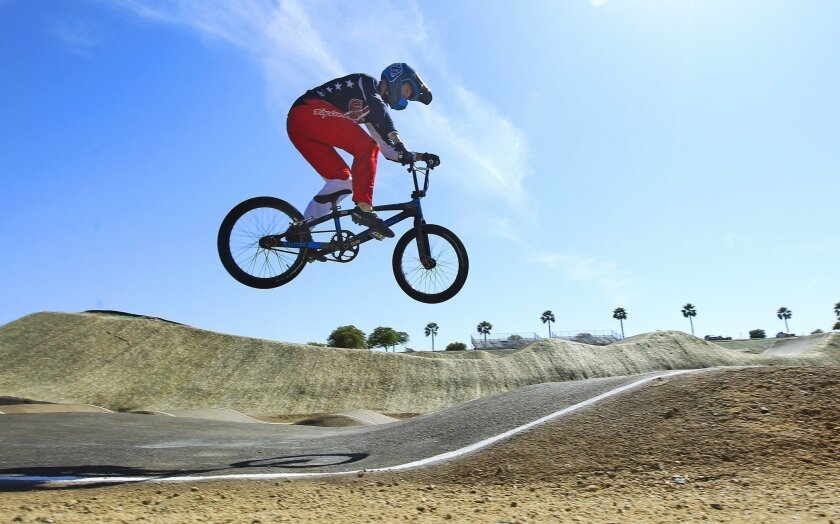 SAN DIEGO, CA - JUNE 6, 2016 - | Nic Long of Lakeside has qualified for the 2016 Olympics in BMX, shown here at the Olympic Training Center in Chula Vista. | (Photo by K.C. Alfred/The San Diego Union-Tribune) San Diego Union-Tribune