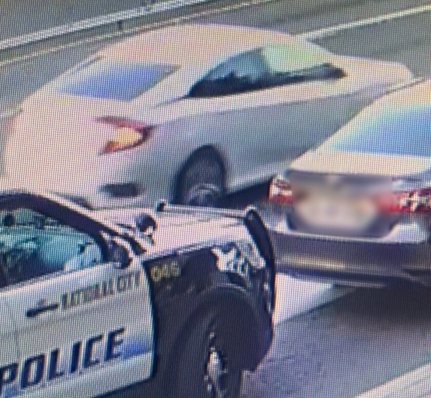 National City police say this white Honda Civic struck and injured a police officer Monday evening on National City Boulevard