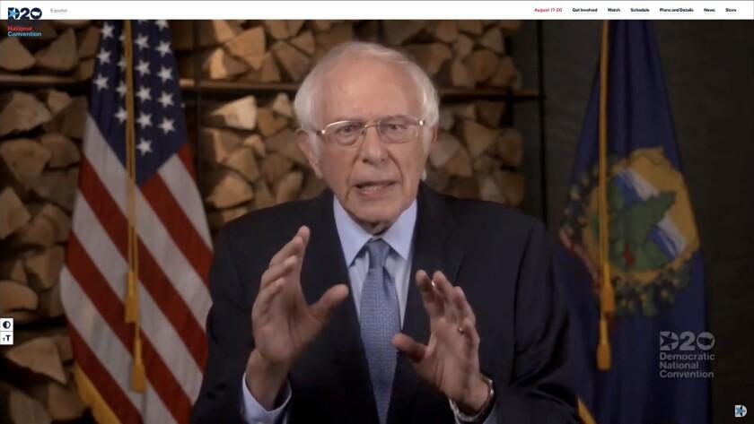 Sen. Bernie Sanders of Vermont spoke out for Joe Biden during the Democratic National Convention.