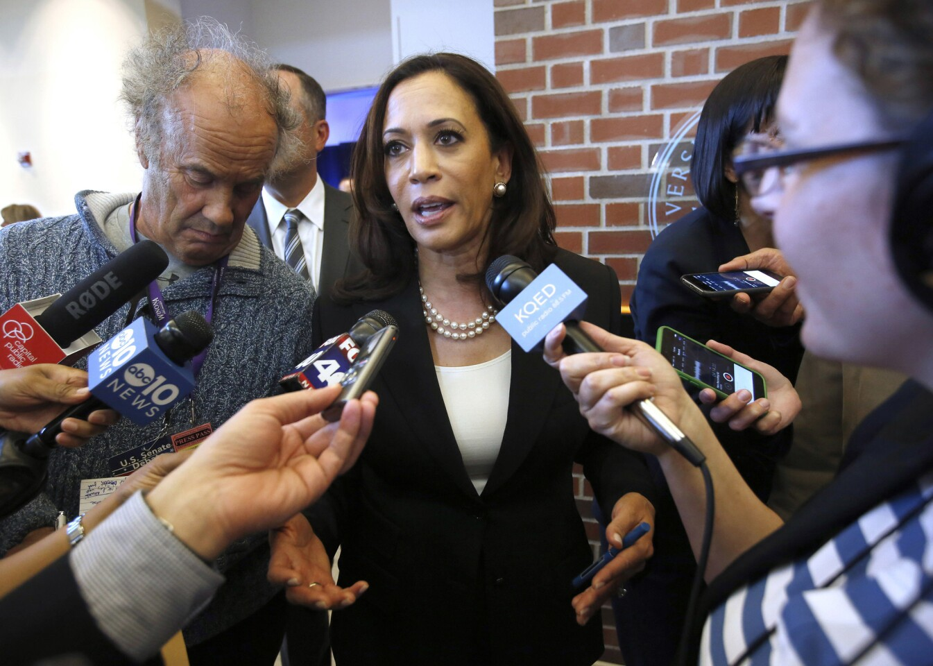 California Atty. Gen. Kamala Harris talks with reporters after a U.S. Senate debate at the University of the Pacific in Stockton on April 25.