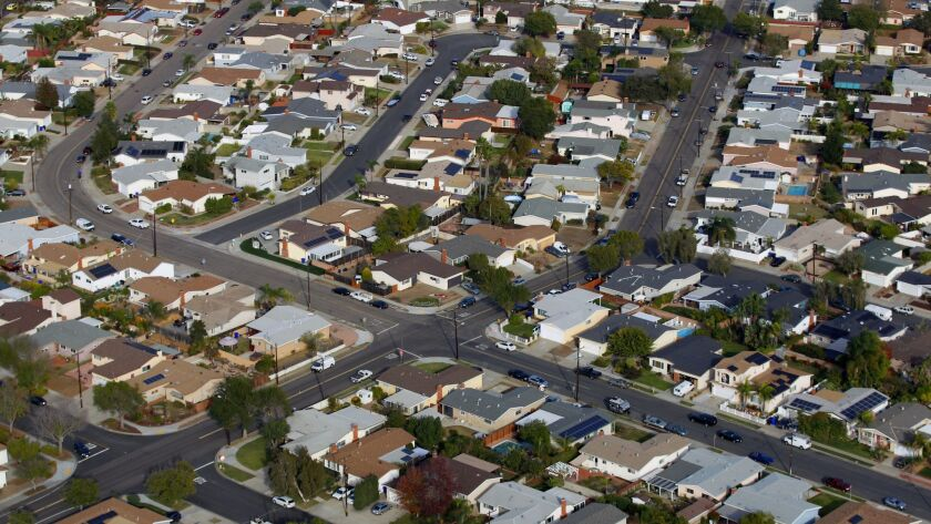 An aerial view of houses in the San Diego neighborhood of Clairemont on Friday, Dec. 8, 2017.