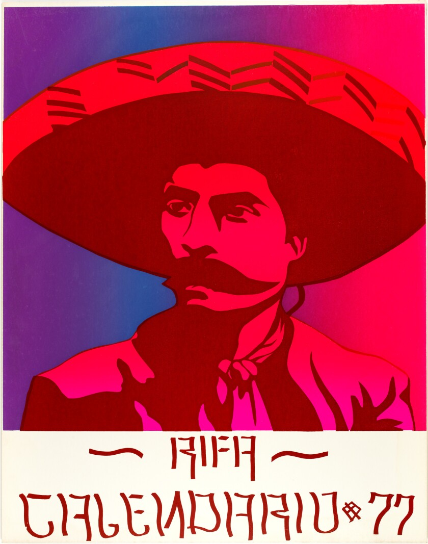 A poster shows Emiliano Zapata rendered in a stylized graphic design printed in shades of red and purple