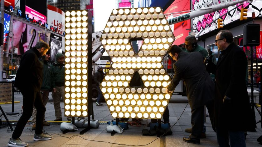 Numerals for '2018' are Delivered to Times Square, New York, USA - 13 Dec 2017