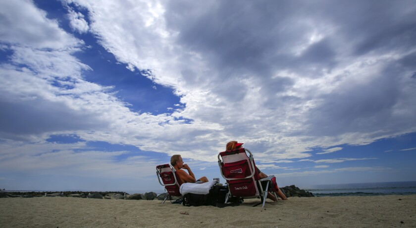 Two people sitting at Tamarack State Beach in Carlsbad.