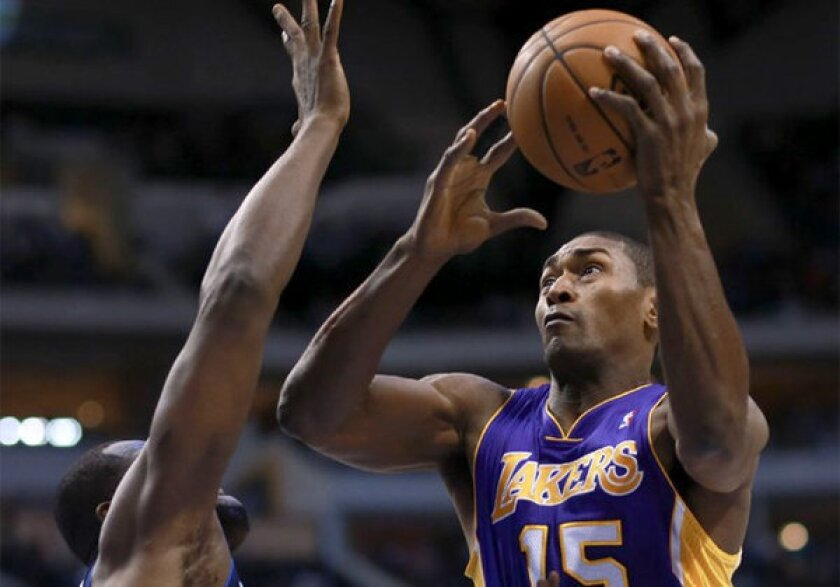 Metta World Peace scored 19 points on 10 shot attempts against the Mavericks on Saturday.