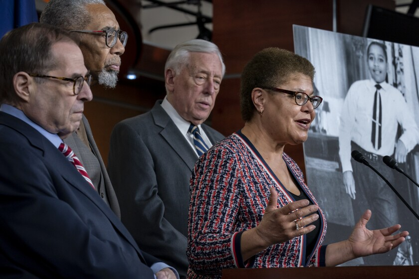Congressional Black Caucus Chairwoman Karen Bass (D-Calif.), with other congressional leaders, speaks at a news conference.