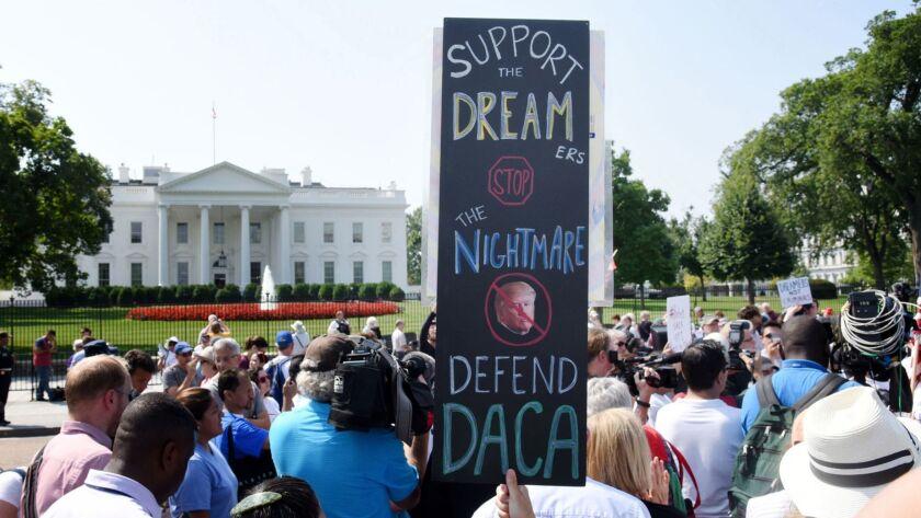 Demonstrators outside the White House in September 2017.