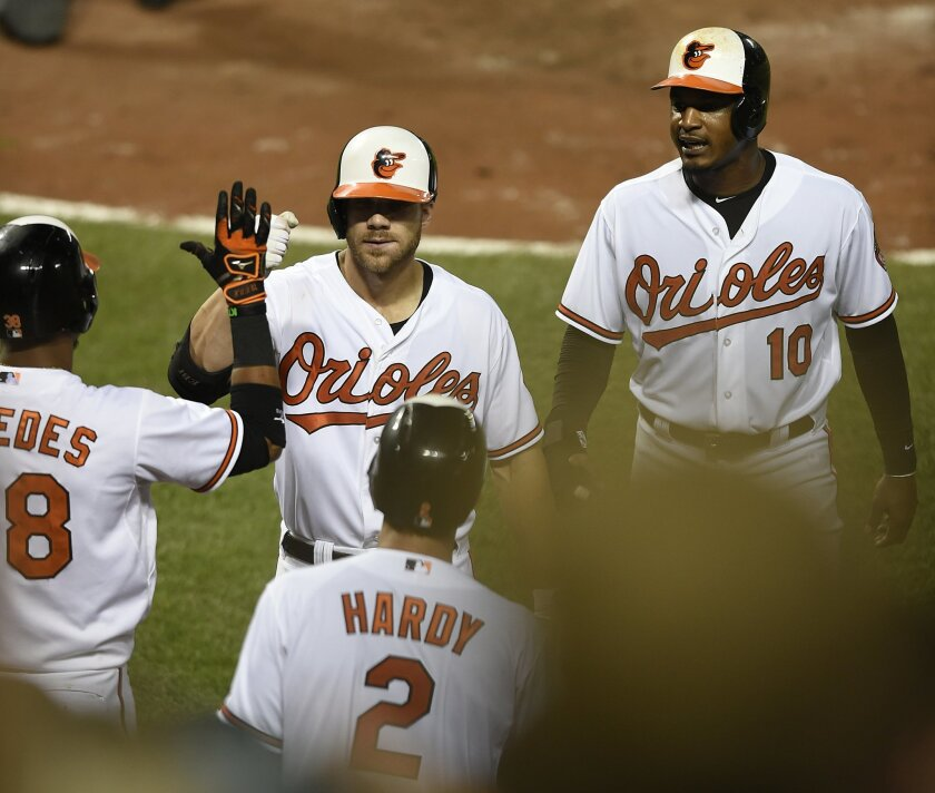 Baltimore Orioles' Chris Davis, center, is congratulated by teammates after hitting a two run home run against the Detroit Tigers in the seventh inning of a baseball game, Thursday, July 30, 2015, in Baltimore. The Tigers won 9-8.(AP Photo/Gail Burton)