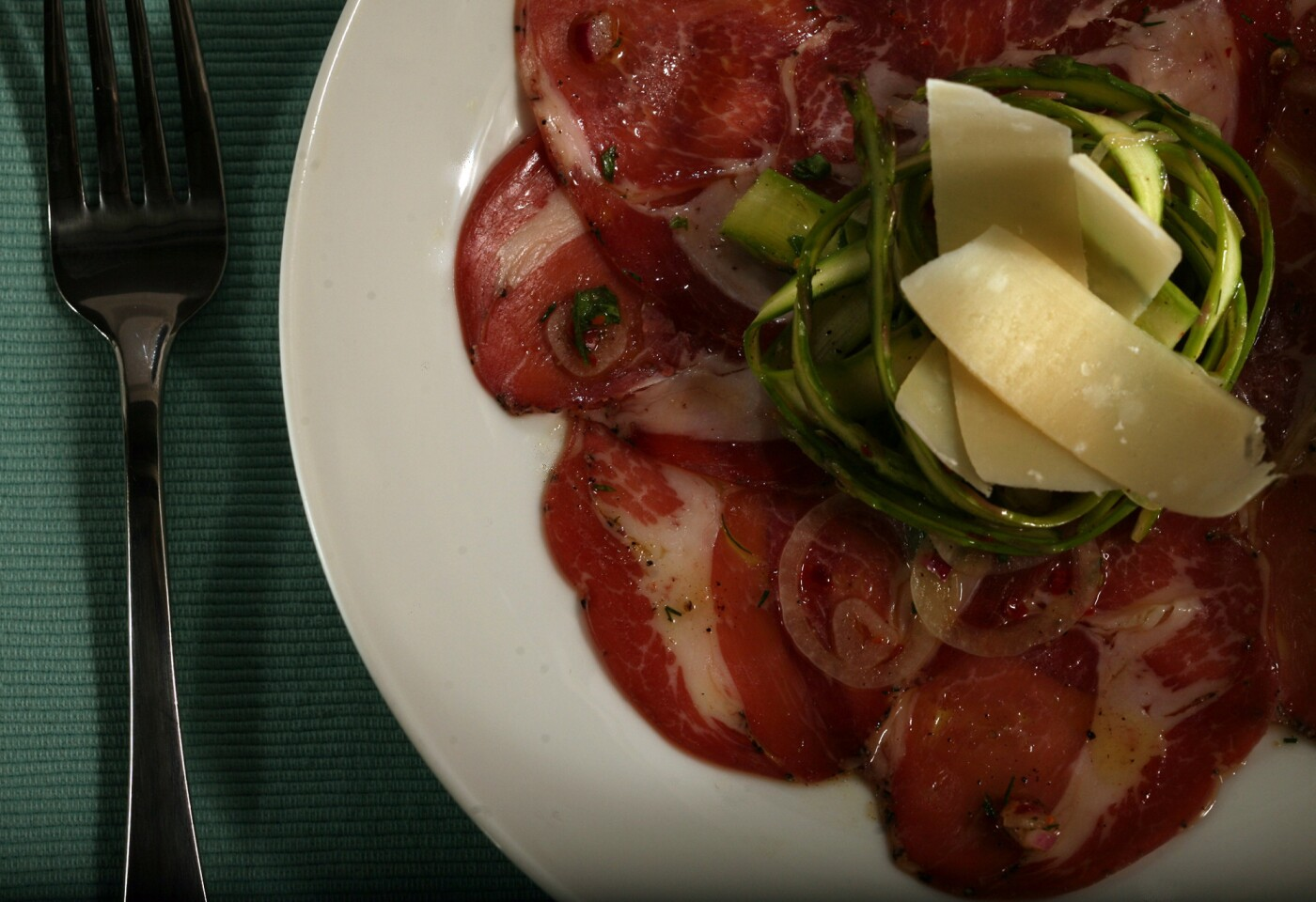 Recipe: Shaved asparagus salad with coppa.