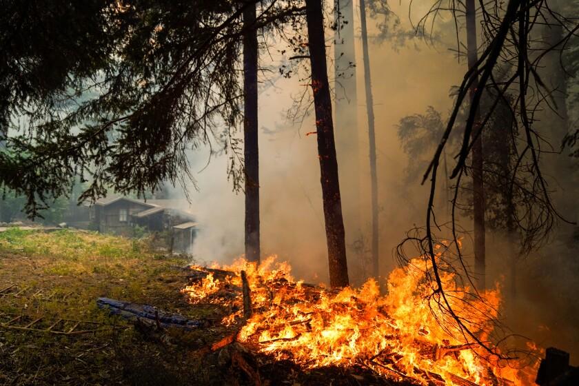 A fire burns near a structure along Pine Flat road during the CZU August Lightning Complex Fires on Thursday.