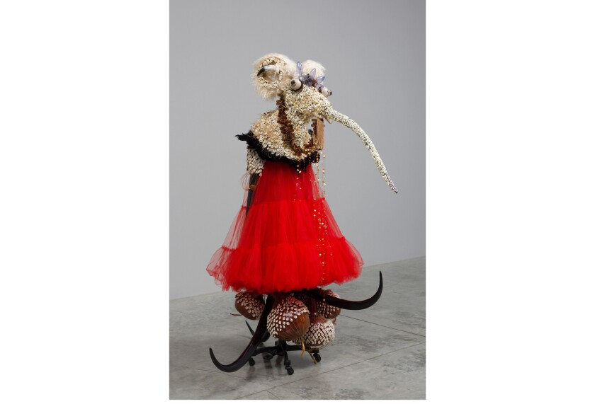 """Rina Banerjee, """"She was now in western style dress...,"""" 2011, mixed media, 73 x 65 x 65 inches"""