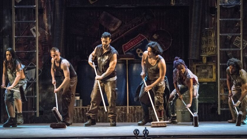 """Ivan Salazar, fourth from left, in """"Stomp"""" presented by Broadway San Diego."""