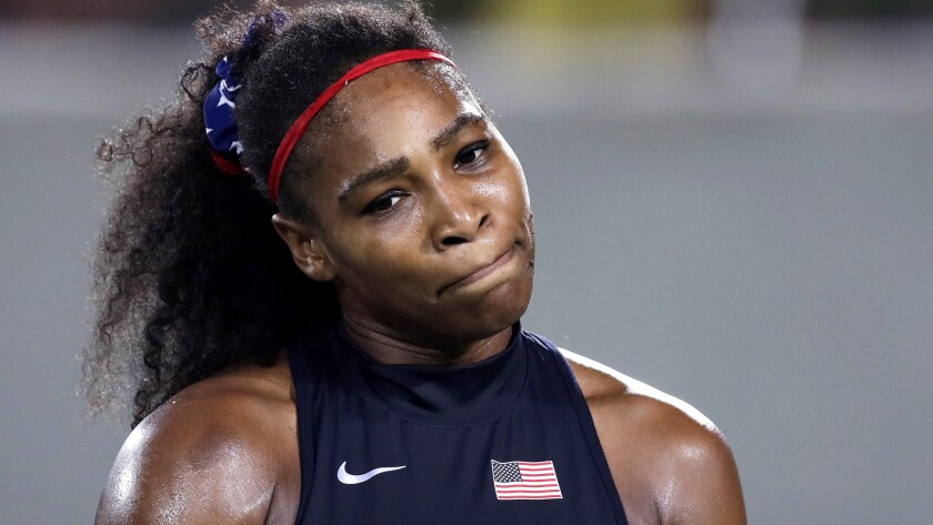 Serena Williams reacts after losing a point to Elina Svitolina on Tuesday.