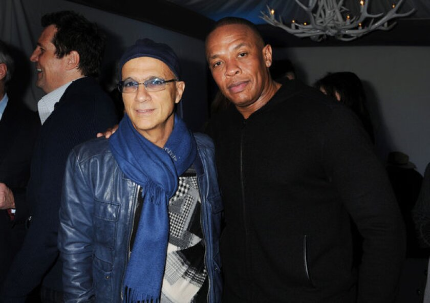 Jimmy Iovine and Dr. Dre are shown in February at Universal Music Group Chairman and CEO Lucian Grainge's annual Grammy Awards viewing party.