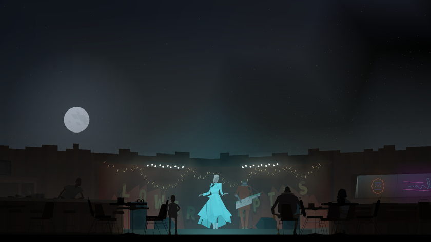 "A scene from ""Kentucky Route Zero"" suggests a moonlit concert."