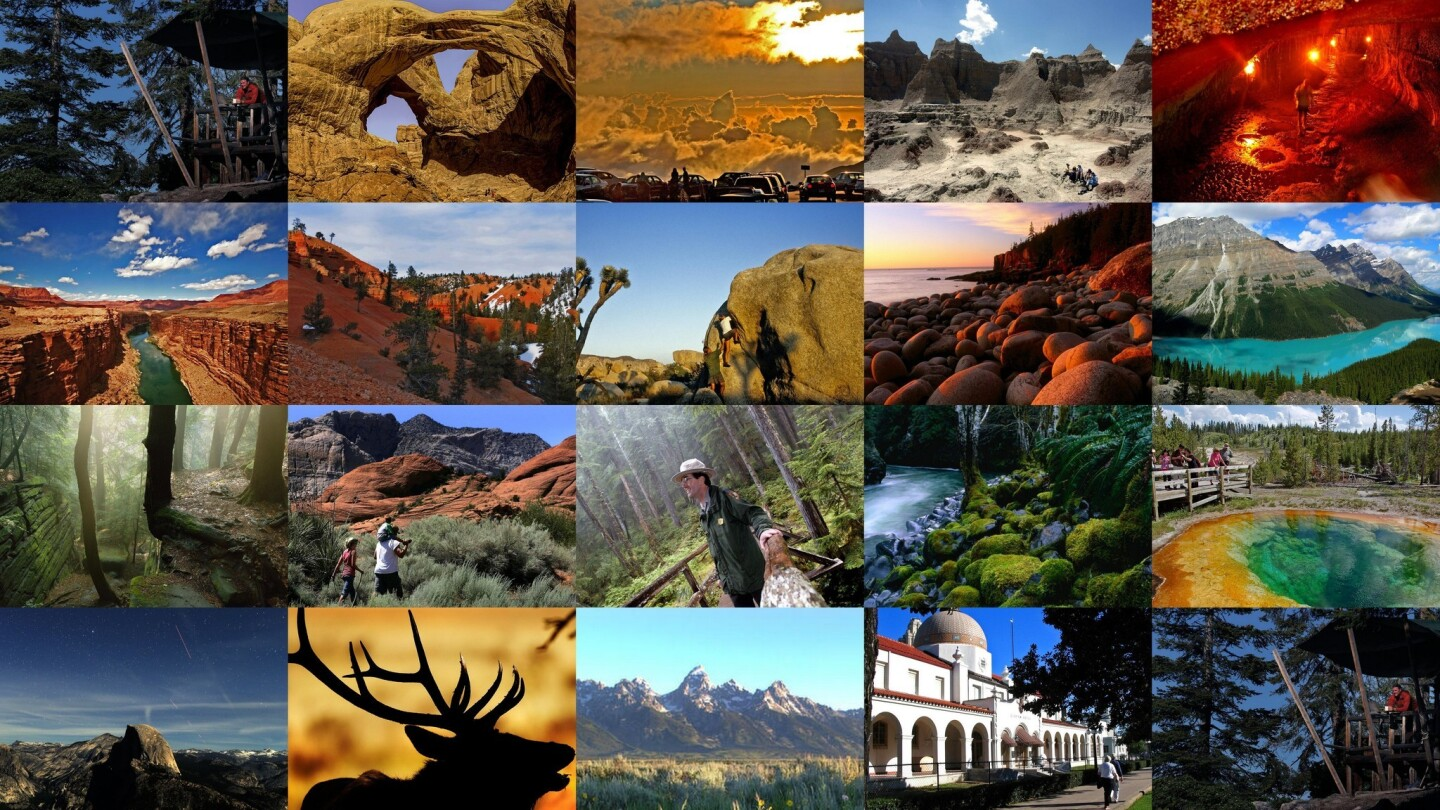 America's 58 national parks feature some of the country's most amazing views, natural formations and wildlife. These include Yellowstone's world-famous geysers, Olympic's rain forests in Washington and Arches' sweeping rock formations in Utah. Each year, millions travel to these parks. Here are the 20 most-visited. America's most popular park may surprise you. It's not Yosemite, the Grand Canyon or Yellowstone. -- Jason La and Deborah Netburn Pictured: Half Dome and fall leaves are reflected in the Merced River on a postcard-perfect fall day at Yosemite National Park.