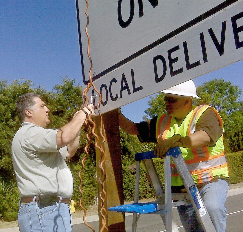 Caltrans sign installed on Angeles Crest Highway Aug. 2009