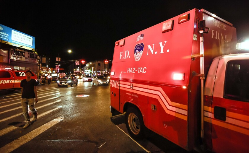 A FDNY Haz-Tac truck is parked near Flatbush Train Junction. EMS workers treated 20 people at the scene for exposure to an irritant, said a Fire Department spokesman.