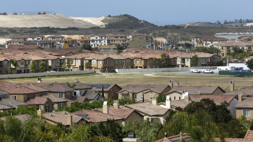 San Diego home prices were up 2.3 percent in a year, said the S&P CoreLogic Case-Shiller Indices. Pictured: Homes in the Otay Ranch area of Chula Vista.
