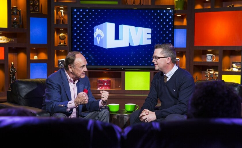 Long-time broadcaster Dick Enberg, left, makes a point while speaking to Callaway Golf host Harry Arnett during the first episode on Monday of Callaway Live, a webcast talk show slated to run for about 20 weeks this summer.