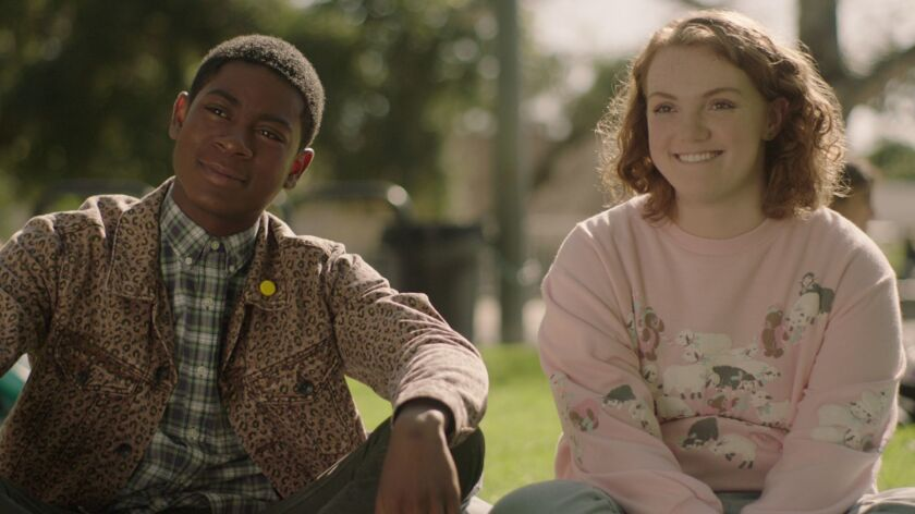 "(L-R) - RJ Cyler and Shannon Purser in a scene from ""SIERRA BURGESS IS A LOSER."" Credit: NETFLIX"
