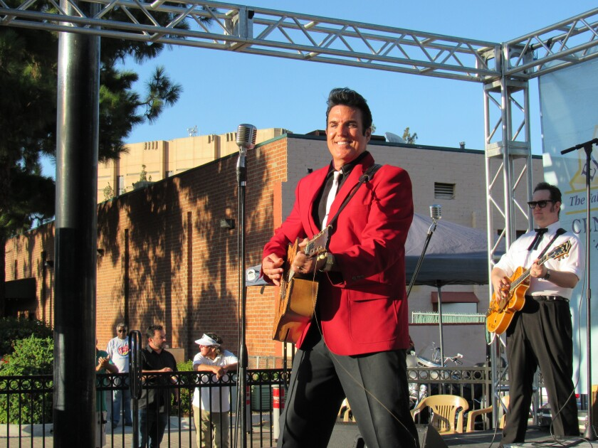 "Scot Bruce and the Elvis Tribute band had people dancing with and without their ""Blue Suede Shoes"" on Friday at Prescott Promenade in El Cajon."